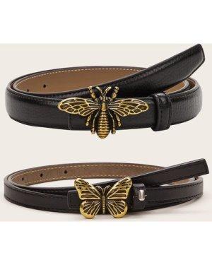 2pcs Butterfly & Bee Decor PU Belt
