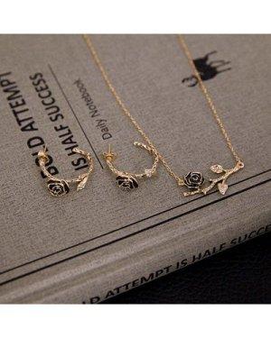Rose Detail Pendant Necklace & Hoop Earrings