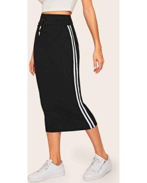 Side Stripe Rib-knit Drawstring Waist Skirt