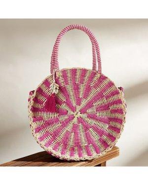 Round Braided Satchel Bag