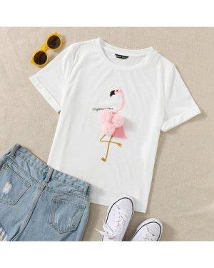 Flamingo Pom Pom Graphic Tee