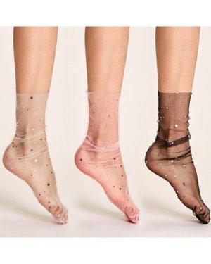 3pairs Star Decor Sheer Mesh Socks