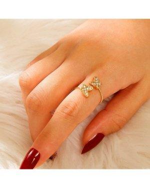 Rhinestone Decor Butterfly Cuff Ring 1pc