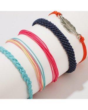 Leaf Decor String Bracelet 5pcs