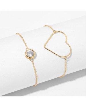 Hollow Heart Detail Link Bracelet 2pcs