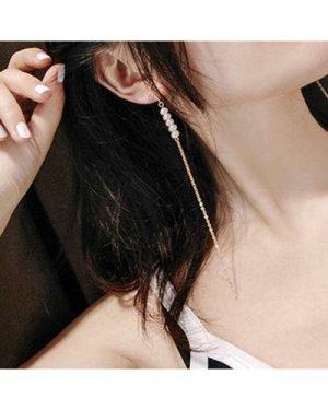 Faux Pearl Detail Long Drop Earrings 1pair