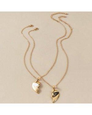 2pcs Half Heart Charm Necklaces