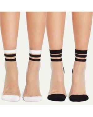 Crystal Silk Ankle Socks 2pairs