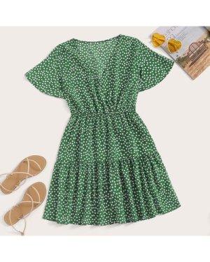 Plus Surplice Front Ditsy Floral Print Dress