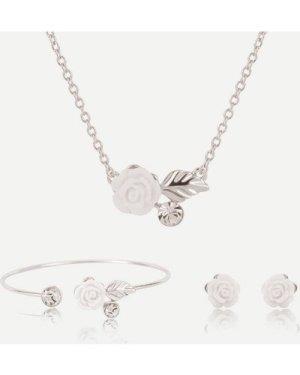 Flower Design Pendant Necklace & Earrings & Bracelet