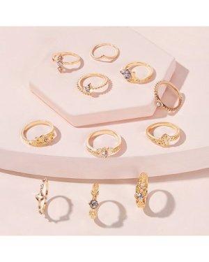 Rhinestone Decor Ring 11pcs