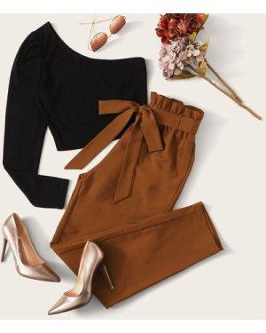 One Shoulder Top & Paperbag Waist Belted Pants Set