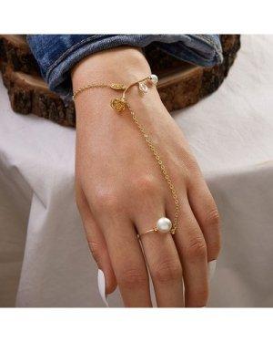 1pc Rose & Faux Pearl Decor Finger Chain Bracelet