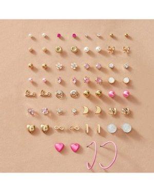 30pairs Letter & Heart Decor Earrings Set