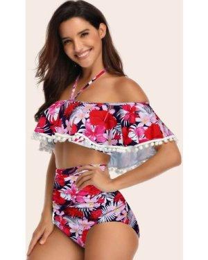 Floral Pompom Hem High Waisted Bikini Swimsuit