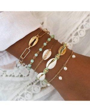 5pcs Shell & Pearl Decor Link Bracelet