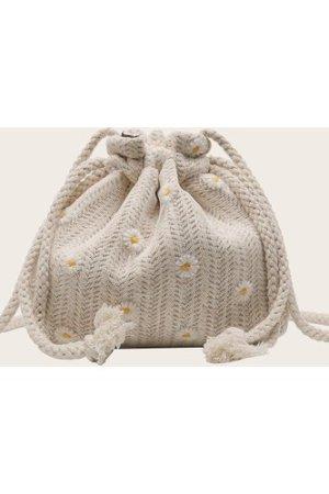 Mini Daisy Embroidered Drawstring Crossbody Bag