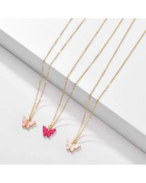 3pcs Butterfly Charm Necklace