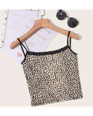 Lace Trim Leopard Print Cami Top