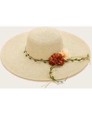 Flower Decor Wide Brim Straw Hat