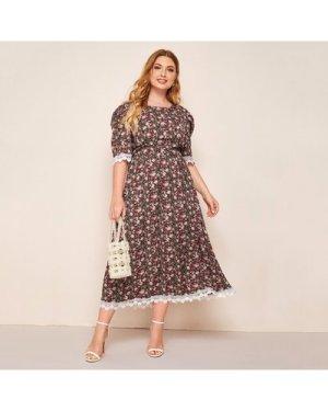 Plus Allover Floral Guipure Lace Trim A-line Dress