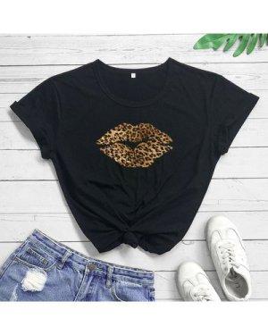 Plus Leopard Lip Print Tee