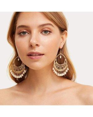 Hollow Out Bead Tassel Drop Earrings 1pair