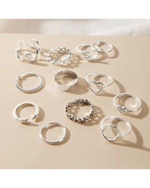 12pcs Geometric & Heart Decor Ring