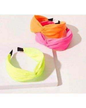 3pcs Neon Twist Detail Hair Hoop
