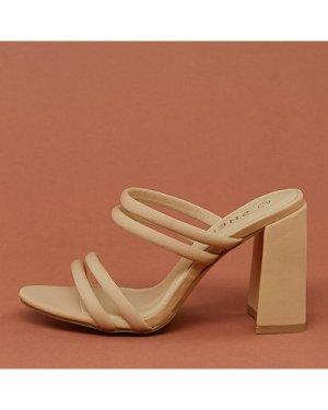 Square Toe Multi Strappy Block High Heels