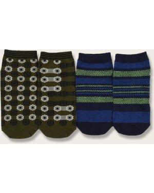 2pairs Striped & Dot Pattern Socks