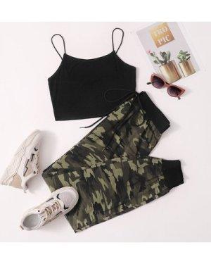 Solid Cami Top & Camo Sweatpants Set