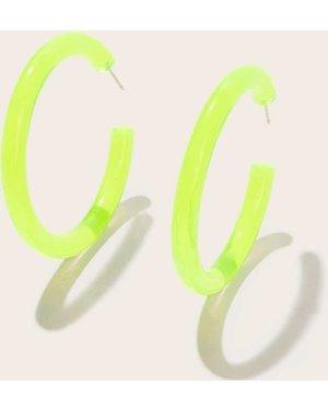 Plain Cut Neon Lime Hoop Earrings 1pair