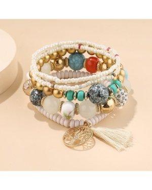 5pcs Tassel Charm Beaded Bracelet