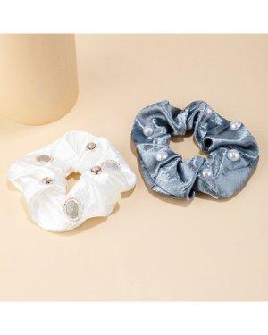 2pcs Faux Pearl & Rhinestone Decor Scrunchies