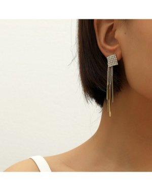 Rhinestone & Metal Tassel Decor Drop Earrings