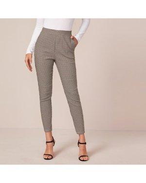 Wide Waistband Slant Pocket Plaid Pants