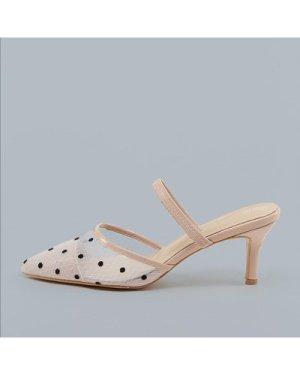 Polka Dot Mesh Pointy Toe Low Heel Mules