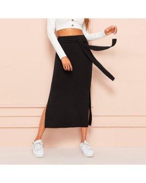 Tie Waist Split Side Solid Skirt