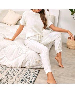 Drop Shoulder Tee With Drawstring Pants Lounge Set