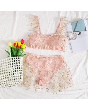 Floral Embroidered Mesh Bikini Swimsuit