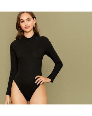 Mock-Neck Raglan Sleeve Bodysuit