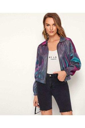 Holographic Zip Up Metallic Crop Jacket