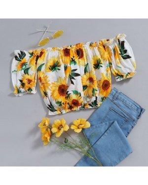 Sunflower Print Frill Trim Bardot Blouse