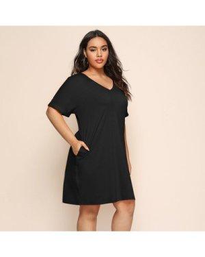 Plus V-Neck Solid Dress