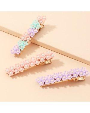 3pcs Flower Decor Hair Clip