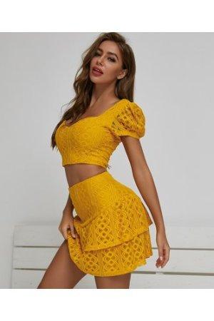 Puff Sleeve Lace Top & Layered Hem Skirt Set