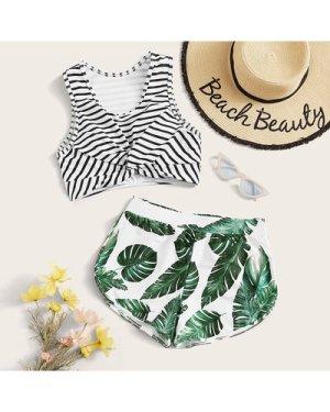 Striped Twist Top With Palm Shortie Bikini Set