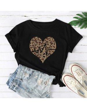 Plus Leopard Heart Print Tee