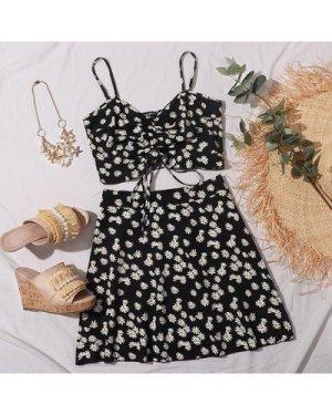 Zip Side Allover Floral Print Skirt
